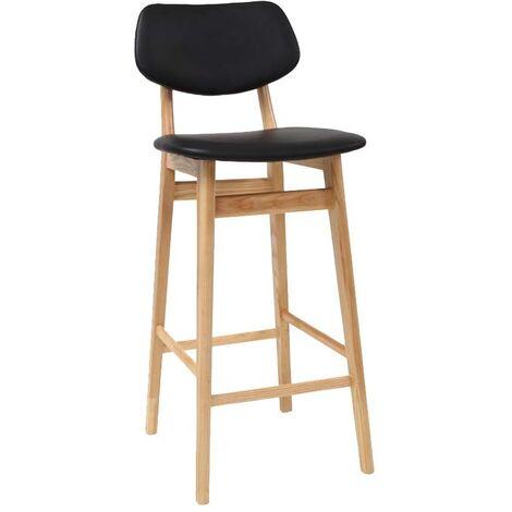 Chaise de bar design noir et bois naturel 65 cm NORDECO