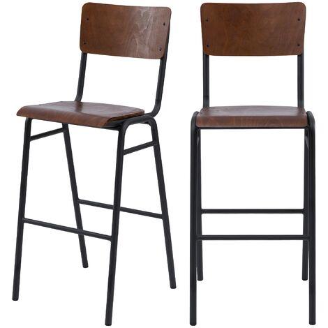 Chaise de bar écolier Clem en bois foncé 75 cm (lot de 2) - Bois foncé