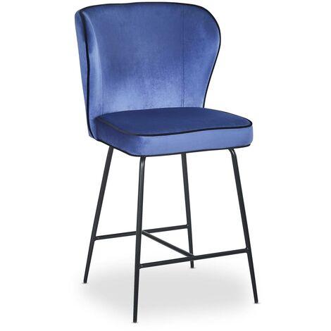 Chaise de bar Elsa Velours Jaune - Jaune