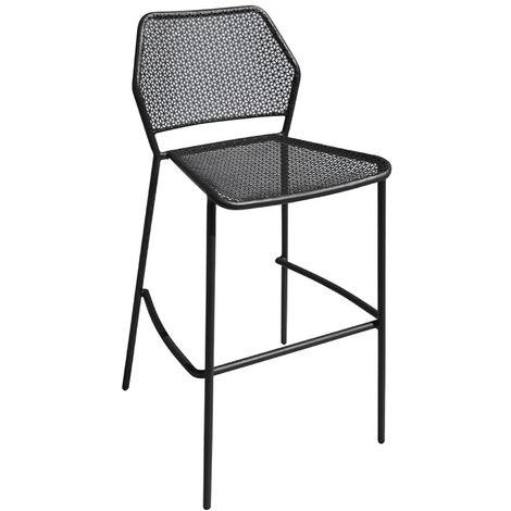 Chaise de bar Empilable en fer coloris gris anthracite