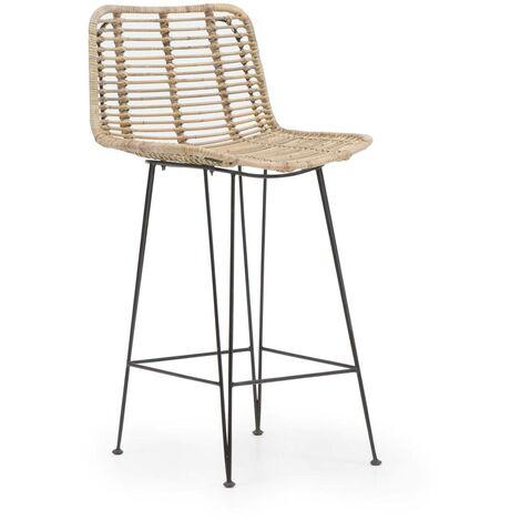 Chaise de bar en rotin pieds en métal