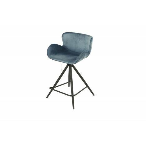 Chaise de bar en tissu velours bleu et pieds métal - LOTUS - bleu