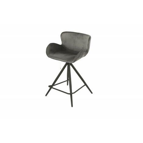 Chaise de bar en tissu velours gris anthracite et pieds métal - LOTUS - Gris anthracite