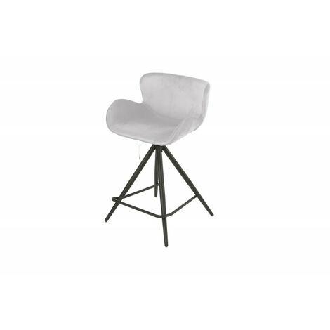 Chaise de bar en tissu velours gris clair et pieds métal - LOTUS - gris clair