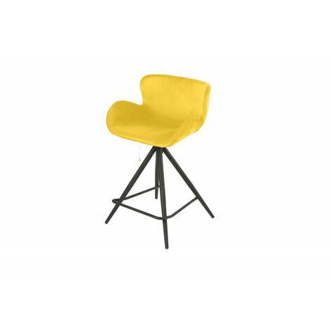 Chaise de bar en tissu velours jaune et pieds métal - LOTUS - jaune