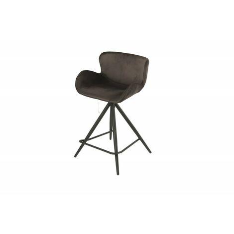 Chaise de bar en tissu velours marron et pieds métal - LOTUS - marron