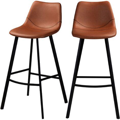 Chaise de bar Falko marron 80 cm (lot de 2) - Marron