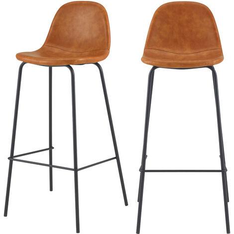 Chaise de bar Henrik grise/noire 75 cm (lot de 2) - Noir