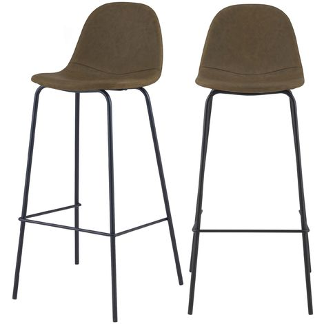 Chaise de bar Henrik vert kaki 75 cm (lot de 2) - Kaki