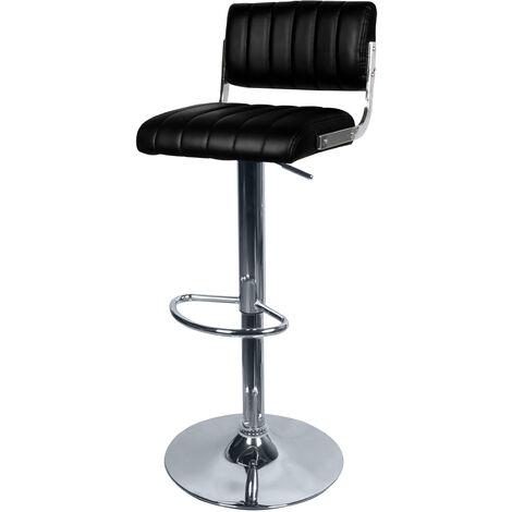 Chaise de bar Houston noire 65/87 cm - Noir