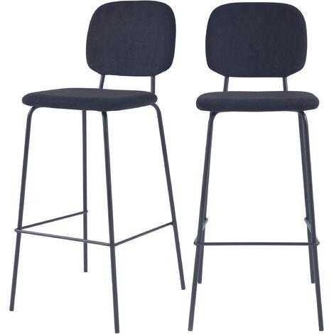 Chaise de bar Jade noire H75cm (lot de 2) - Noir