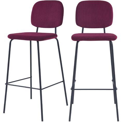 Chaise de bar Jade prune H75cm (lot de 2)