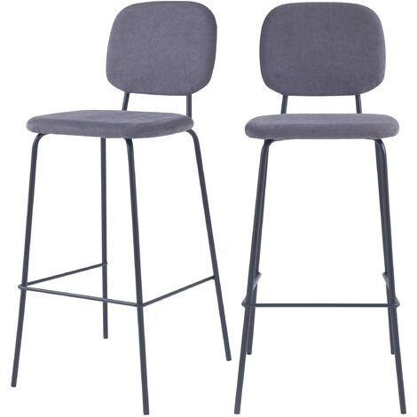 Chaise de bar Jade prune H75cm (lot de 2) - Prune