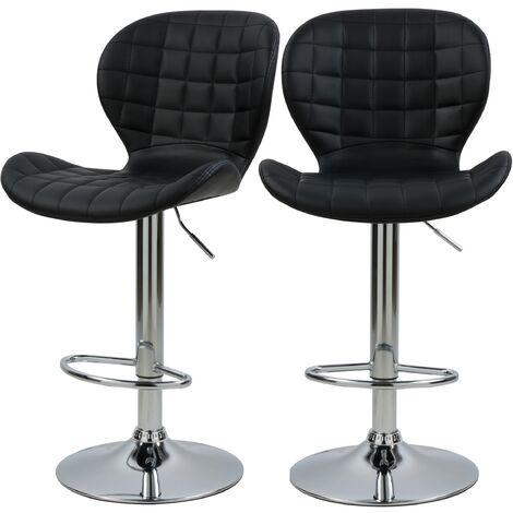 Chaise de bar Mazzia 53/74 cm (lot de 2) - Noir