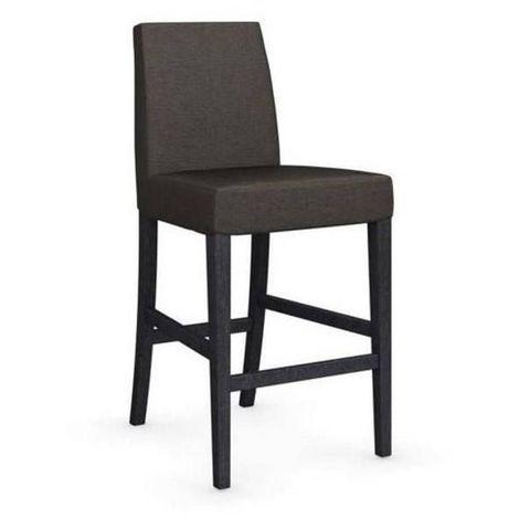 Chaise de bar LATINA piétement graphite assise tissu argile