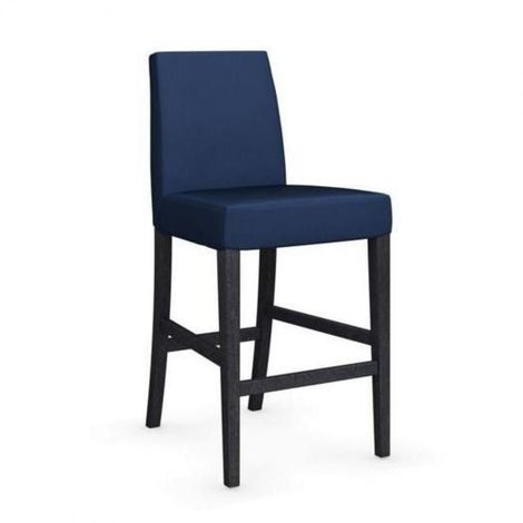 Chaise de bar LATINA piétement graphite assise tissu bleu