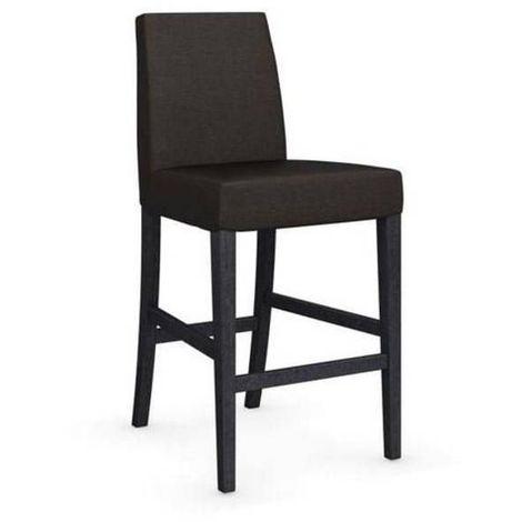 Chaise de bar LATINA piétement graphite assise tissu café