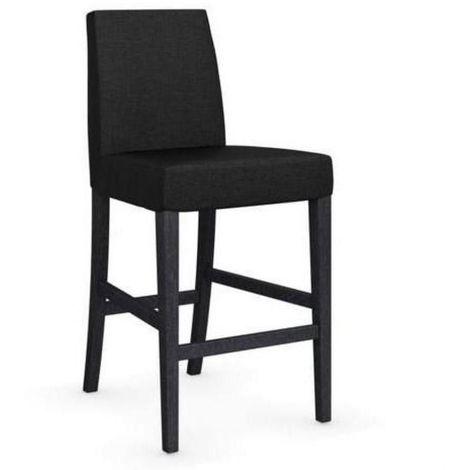 Chaise de bar LATINA piétement graphite assise tissu gris anthracite