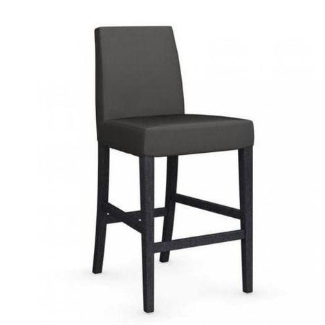 Chaise de bar LATINA piétement graphite assise tissu gris foncé