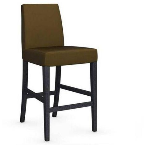 Chaise de bar LATINA piétement graphite assise tissu vert olive