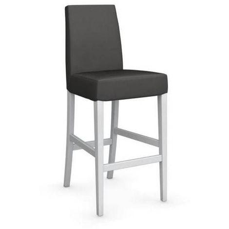 Chaise de bar LATINA piétement hêtre laqué blanc
