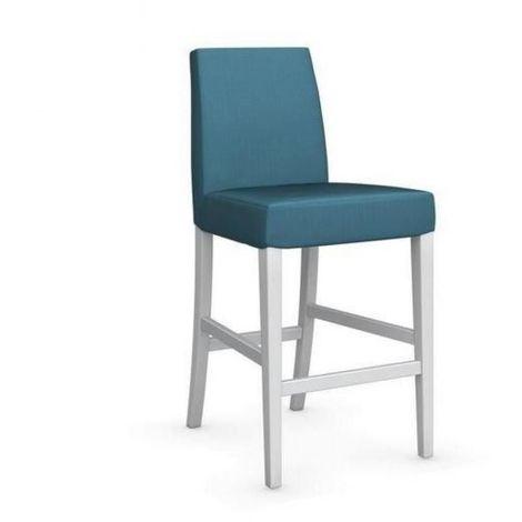 Chaise de bar LATINA piétement hêtre laqué blanc assise tissu aigue marine