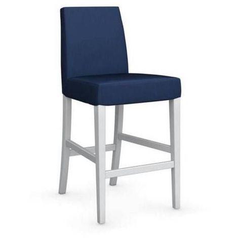 Chaise de bar LATINA piétement hêtre laqué blanc assise tissu bleu