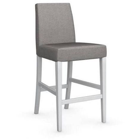 Chaise de bar LATINA piétement hêtre laqué blanc assise tissu corde