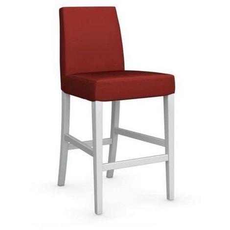 Chaise de bar LATINA piétement hêtre laqué blanc assise tissu rouge