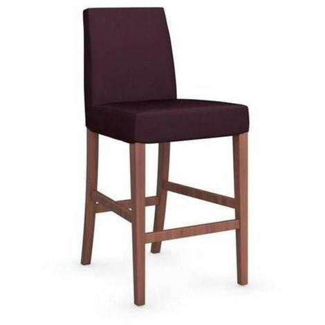 Chaise de bar LATINA piétement noyer assise tissu aubergine