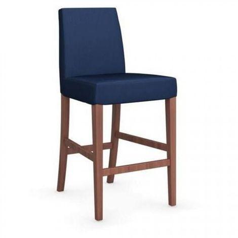 Chaise de bar LATINA piétement noyer assise tissu bleu