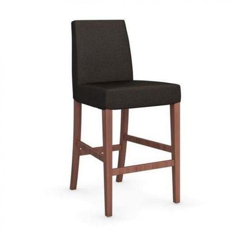 Chaise de bar LATINA piétement noyer assise tissu café
