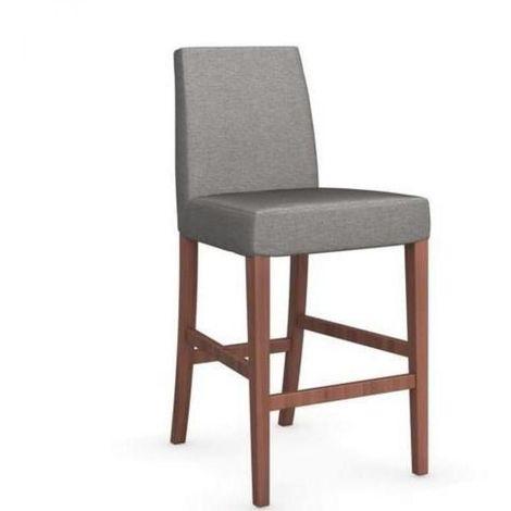 Chaise de bar LATINA piétement noyer assise tissu corde