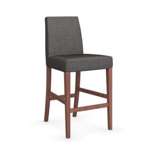 Chaise de bar LATINA piétement noyer assise tissu grège