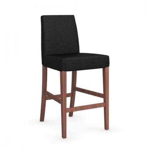 Chaise de bar LATINA piétement noyer assise tissu gris