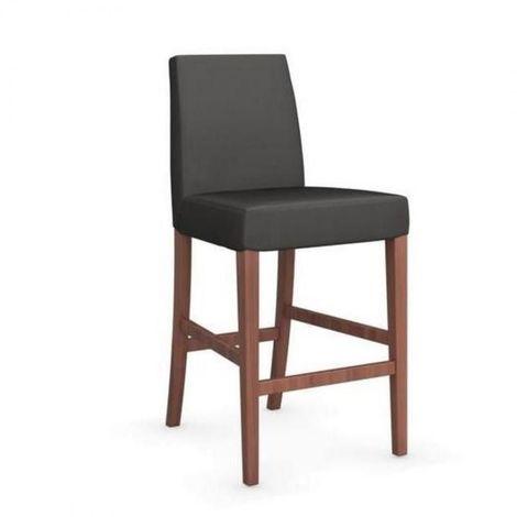Chaise de bar LATINA piétement noyer assise tissu gris foncé