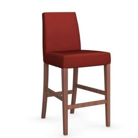 Chaise de bar LATINA piétement noyer assise tissu rouge