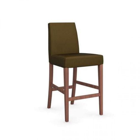 Chaise de bar LATINA piétement noyer assise tissu vert olive