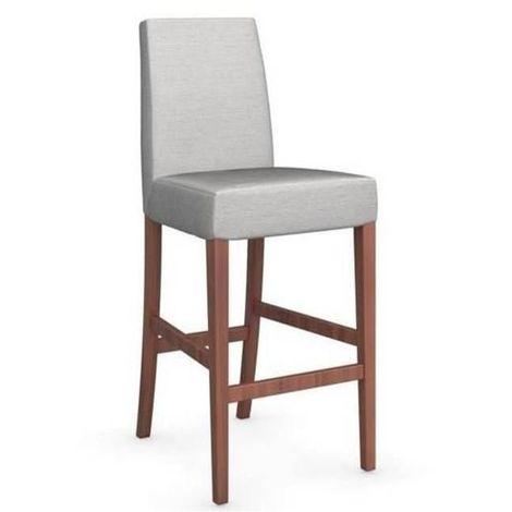 Chaise de bar LATINA piétement noyer assise tissus