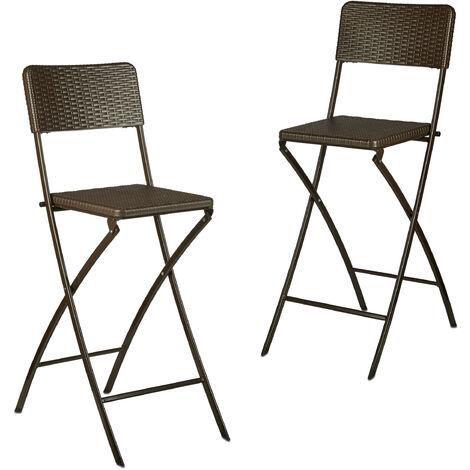Chaise de bar lot de 2 avec dossier pliante pliable BASTIAN tabouret 78 cm hauteur, marron