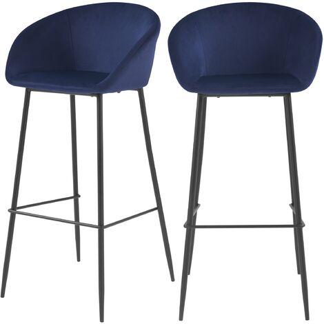 Chaise de bar Marquise bleue H75cm (lot de 2) - Bleu foncé