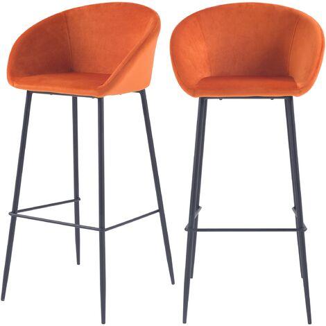 Chaise de bar Marquise orange corail H75cm (lot de 2) - Orange