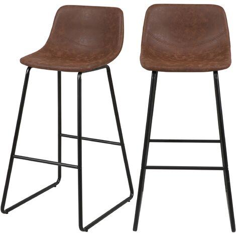 Chaise de bar marron Clay 76 cm (lot de 2) - Marron