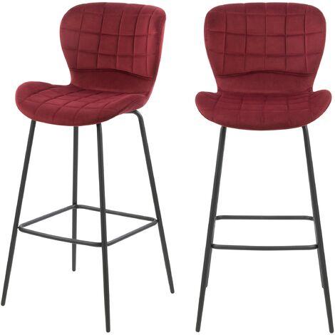 Chaise de bar Mazzia en velours bordeaux 75 cm (lot de 2) - Bordeaux