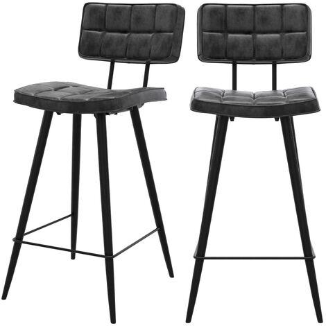 Chaise de bar mi-hauteur capitonnée Texas noire 65 cm (lot de 2) - Noir