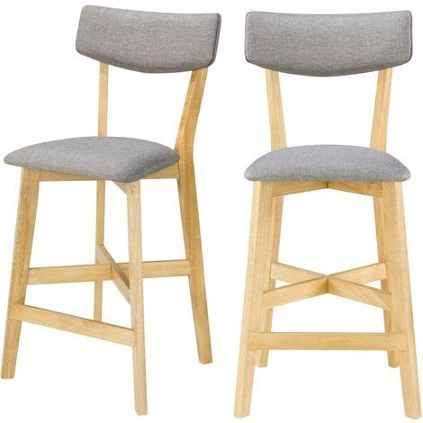 Chaise de bar mi-hauteur Elmer grise en bois clair 68 cm (lot de 2) - Bois clair