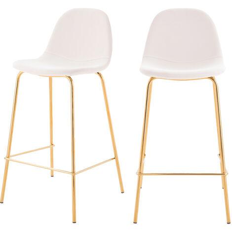 Chaise de bar mi-hauteur Henrik blanche 65 cm (lot de 2) - Blanc