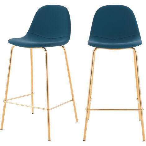 Chaise de bar mi-hauteur Henrik bleue 65 cm (lot de 2) - Bleu