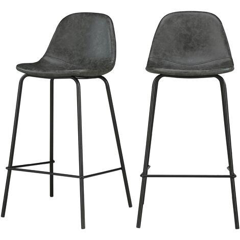 Chaise de bar mi-hauteur Henrik grise/noire 65 cm (lot de 2) - Noir