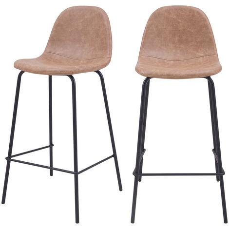 Chaise de bar mi-hauteur Henrik marron clair 65 cm (lot de 2) - Marron Clair